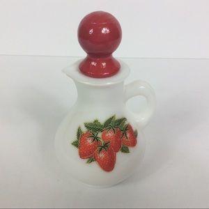 Vintage 1970's Avon Milk Glass Strawberry Cruet